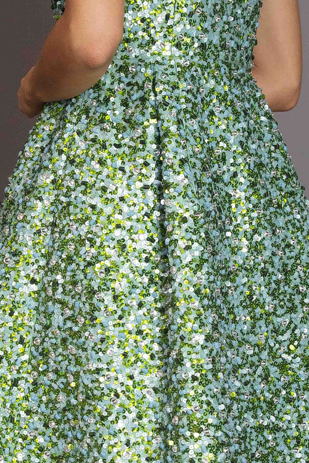 Green and blue sequined fit and flare dress