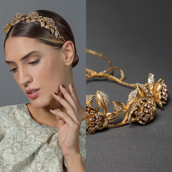 GOLD METAL HEAD BAND ENCRUSTED WITH SWAROVSKI CRYSTAL FLOWER AND LEAF DESIGN