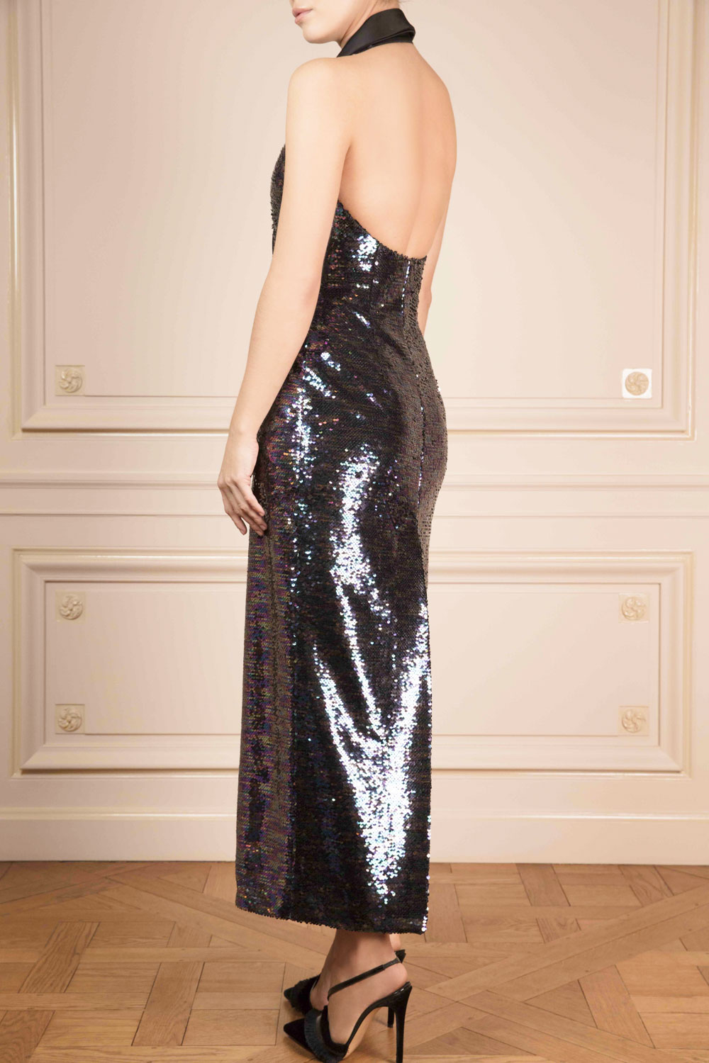 Halter-neck midi dress with multi-coloured sequins with black satin lapels
