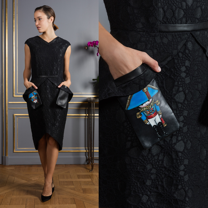 Midi length sheath dress with a drawn tin soldier