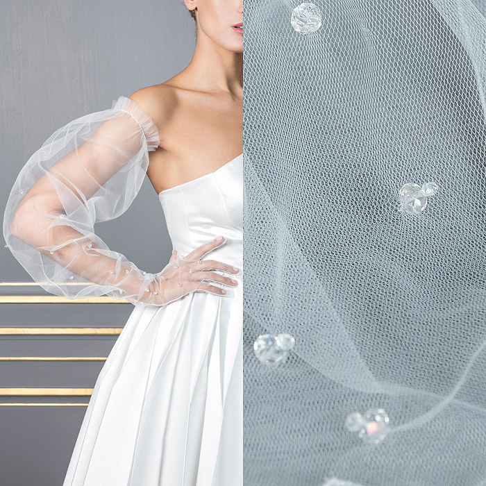 Tulle white long glove