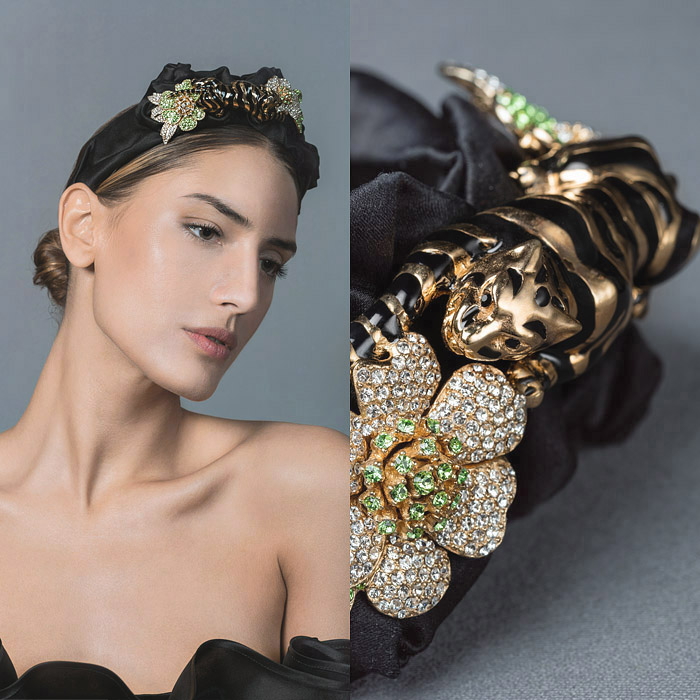 BLACK SATIN HEAD BAND DECORATED WITH GOLD AND HAND PAINTED BLACK METAL PANTHER, FINISHED WITH CLEAR AND GREEN SWAROVSKI CRYSTAL EMBELLSIHED FLOWER