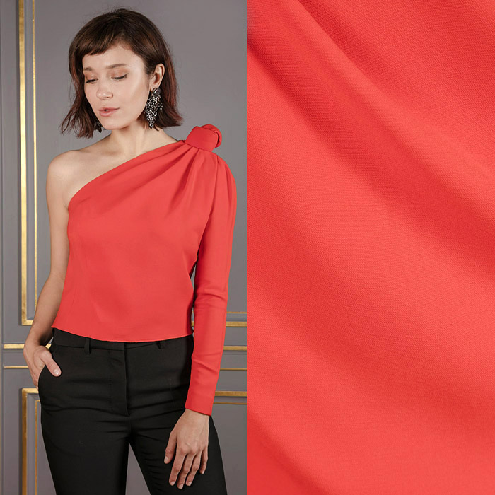One shoulder blood red top