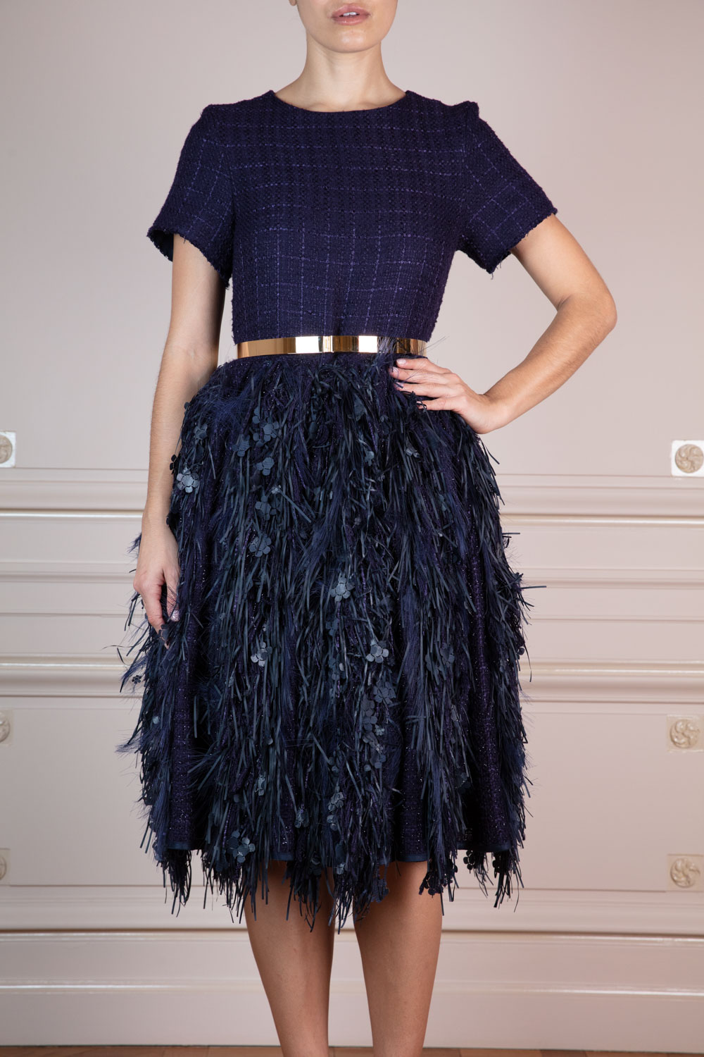 Deep blue bouclé tweed frock with flower and fringe embellishments