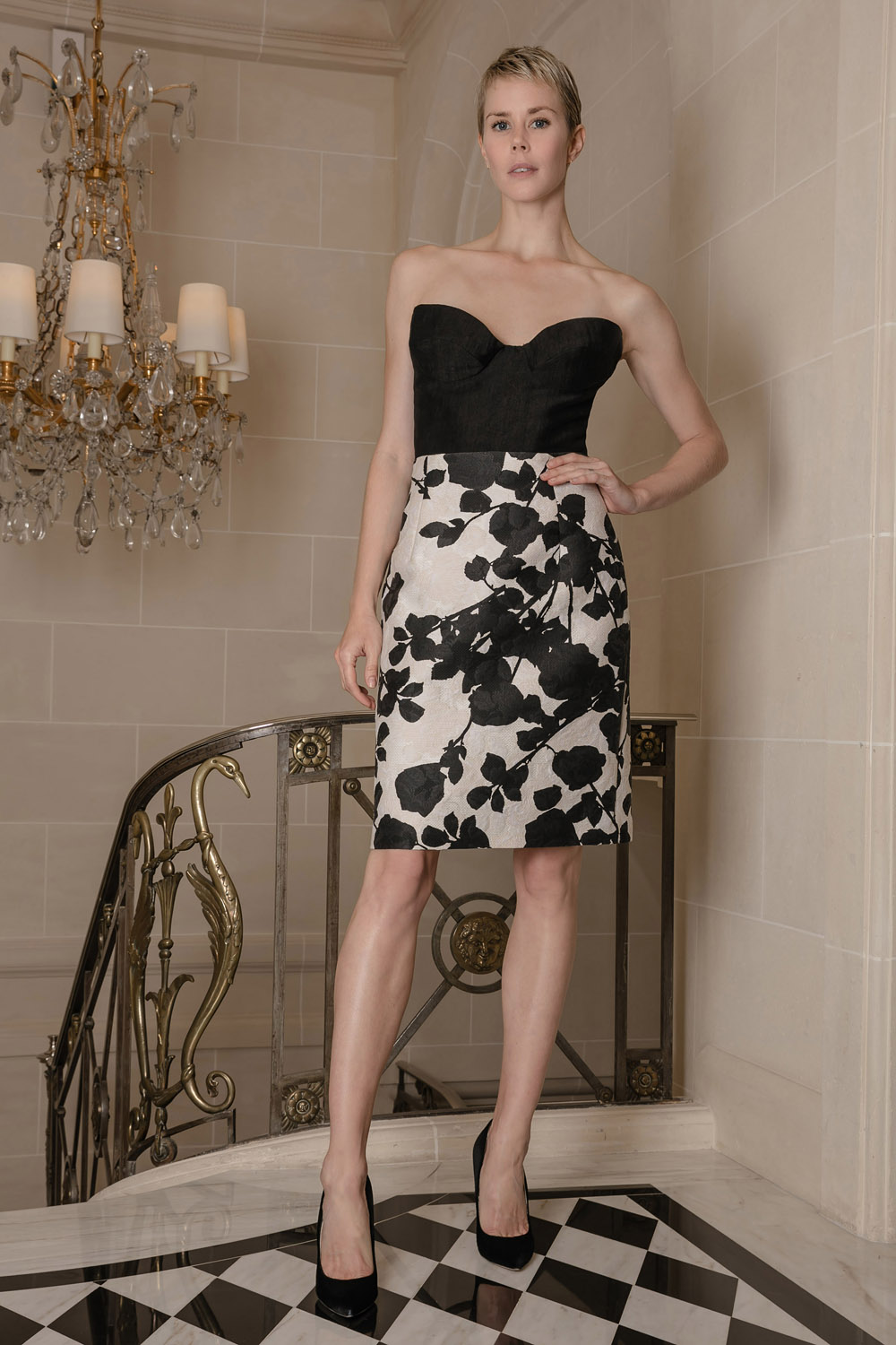 Above the knee black & white skirt